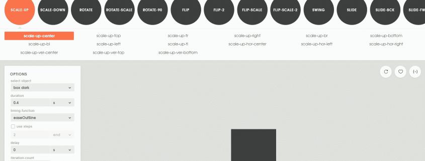 Screenshot Animista - CSS Animations on demand