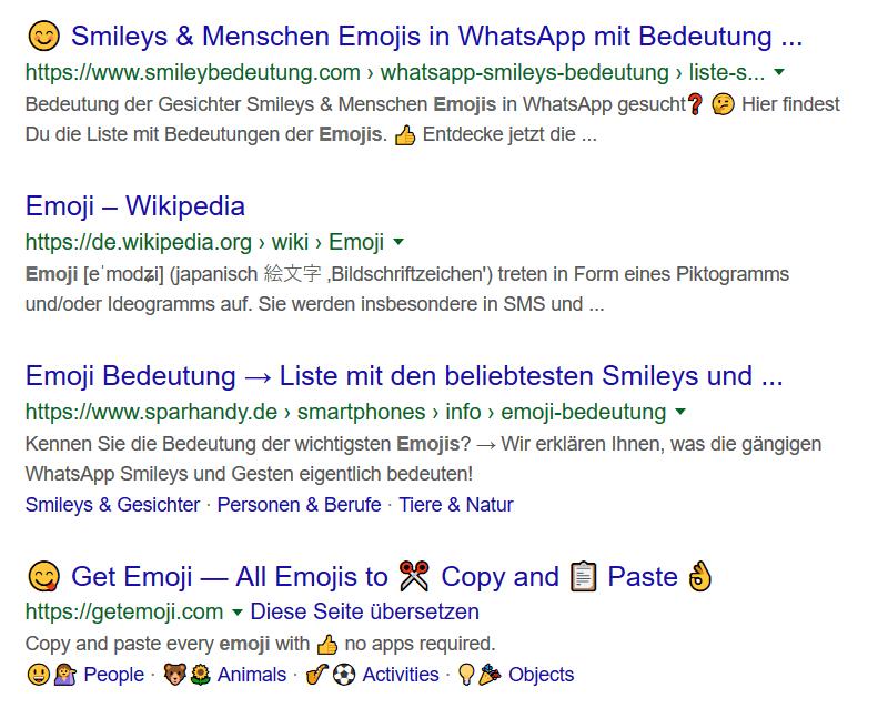 WordPress Guide - Emojis deaktivieren - Screenshot Google Suchergebnisse