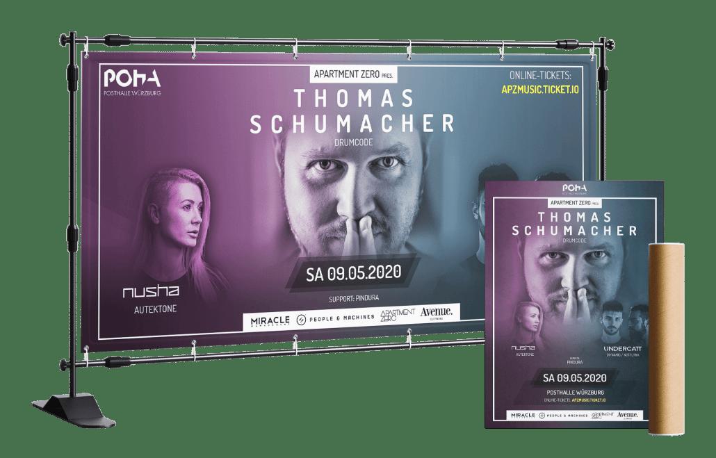 Apartment Zero pres. Thomas Schumacher - Plakat und Bauzaun